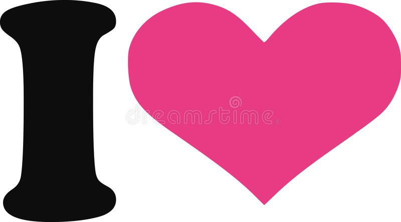 I love with pink heart royalty free illustration