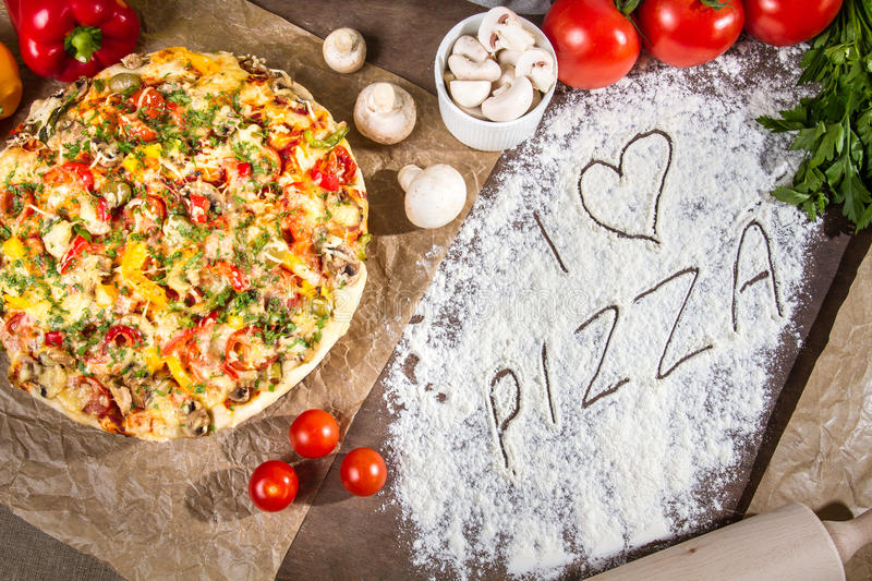 I love pizza with fresh vegetables stock photos