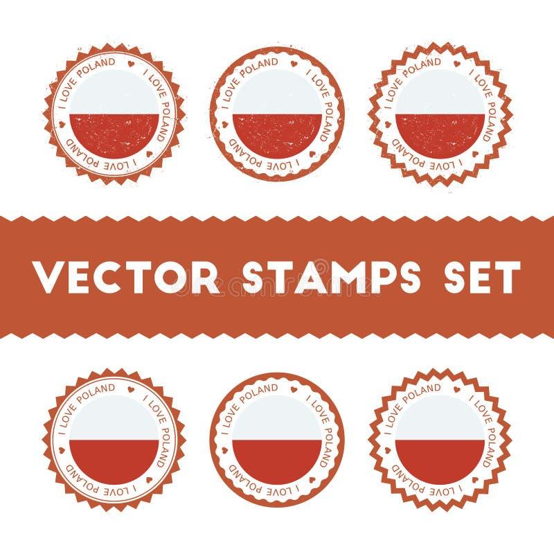 I Love Poland vector stamps set. vector illustration