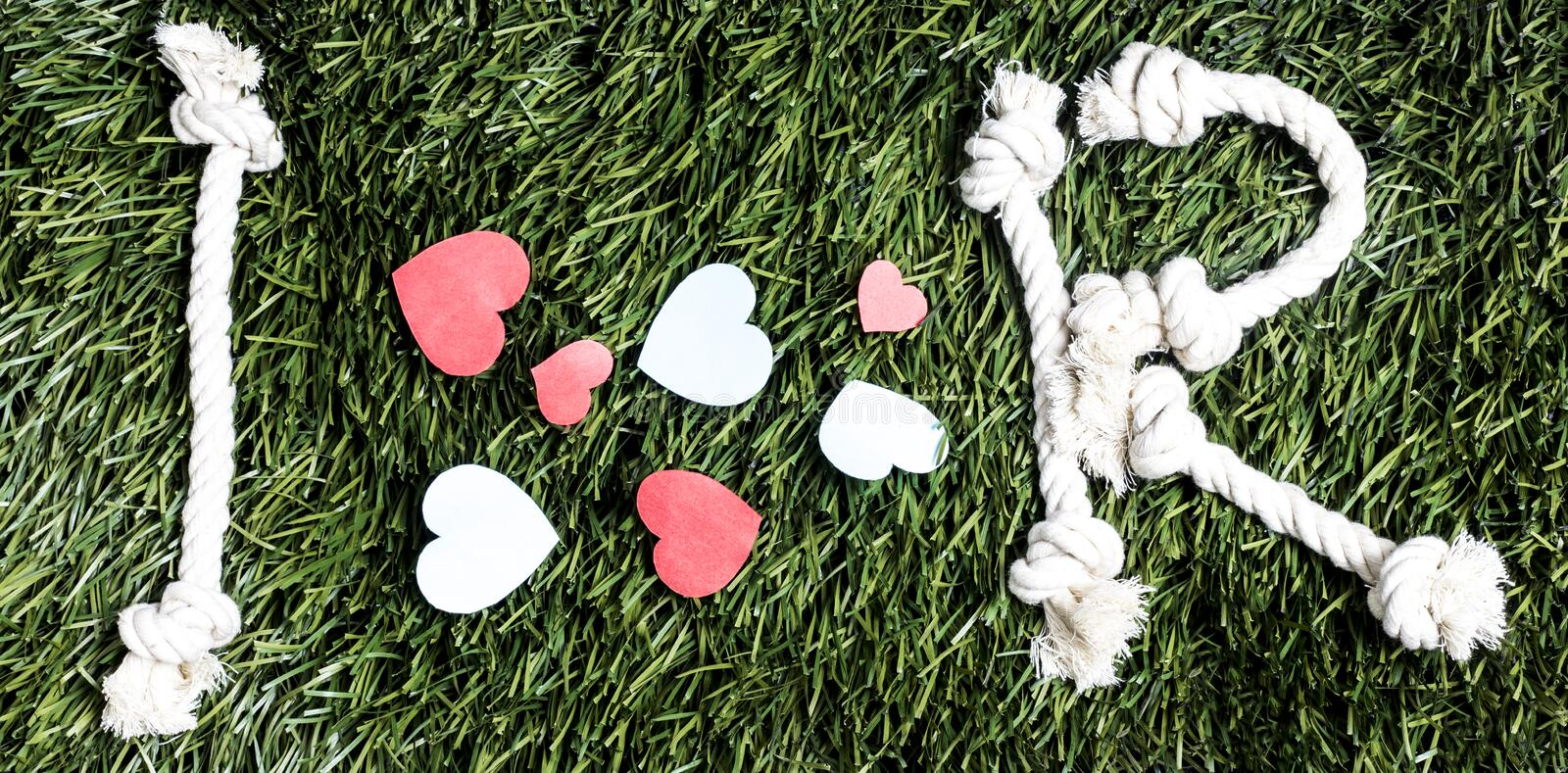 I love R transcription made from ropes on grass background. I love R transcription made from ropes on grass background stock images