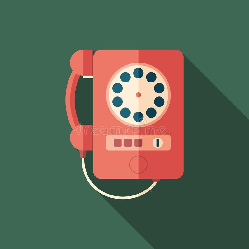 Vintage red telephone flat square icon with long shadows. stock illustration