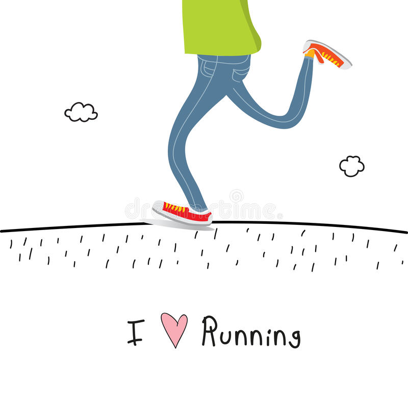 I love running. Concept vector, healthy lifestyle doodle. Active people fun sports illustration royalty free illustration