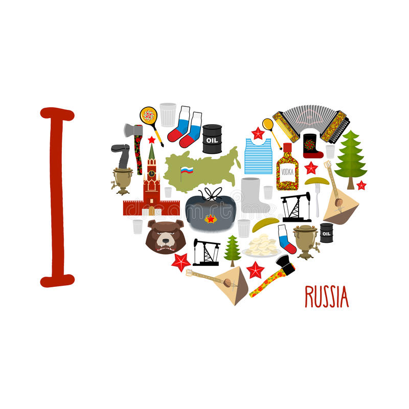 I Love Russia Heart Of Sights Of Russian Federation Russia Map
