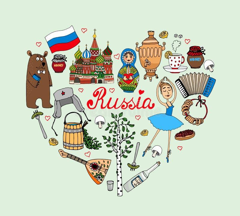 I Love Russia vector heart. Illustration with cultural icons such as a babushka doll bolshoi ballerina bear vodka St Basils Church balalaika samovar with tea vector illustration