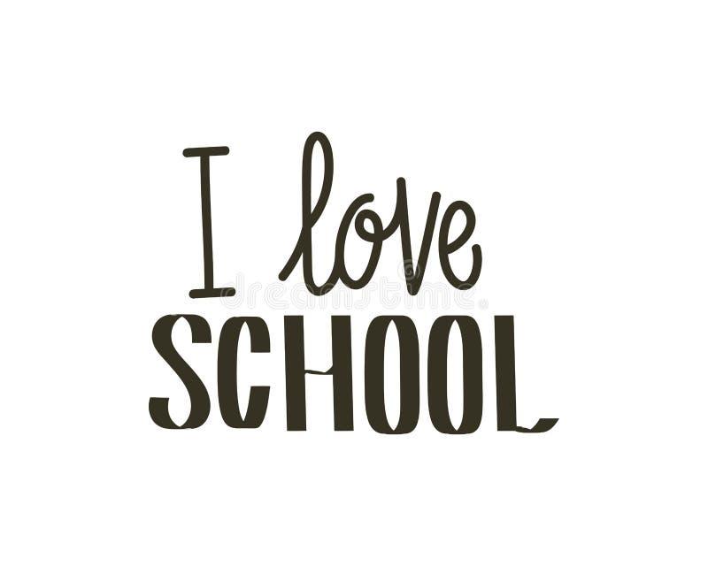 I love school label on white background stock illustration