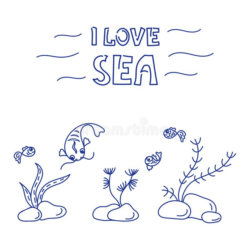 I love Sea. Underwater world, cute fish, plants. Doodle Background. Vector illustration royalty free illustration