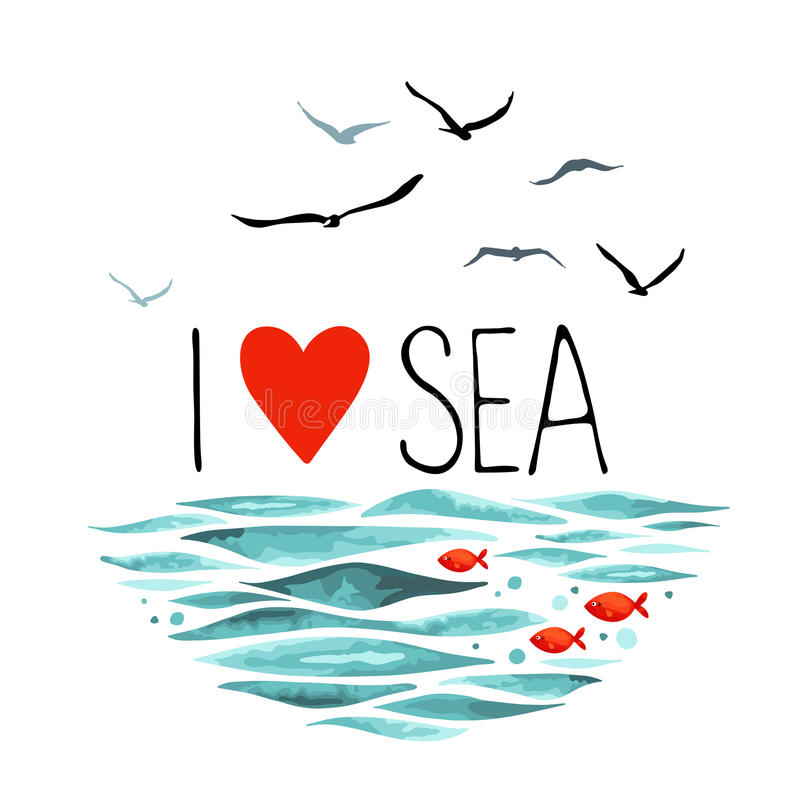 Free I Love Sea With Seagulls, Waves And Red Fish. Royalty Free Stock Image - 73914856