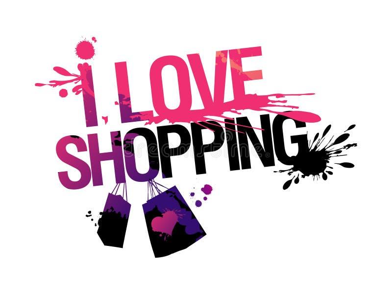 I Love Shopping Illustration. Stock Vector