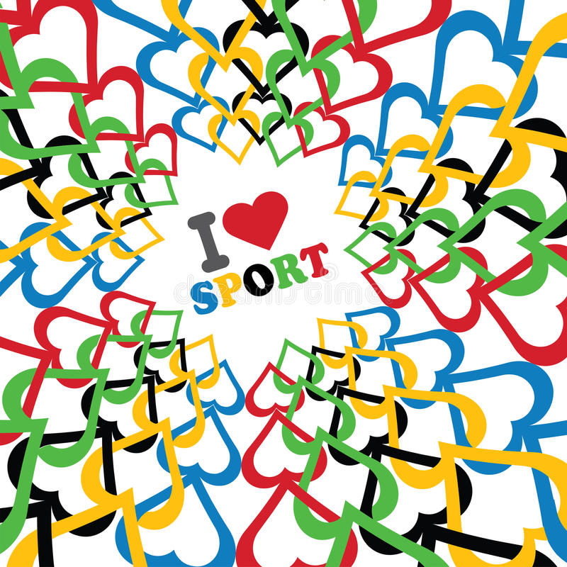 Download I Love Sport And Ornament Of In Olympic Colors Royalty Free Stock Images - Image: 36633239