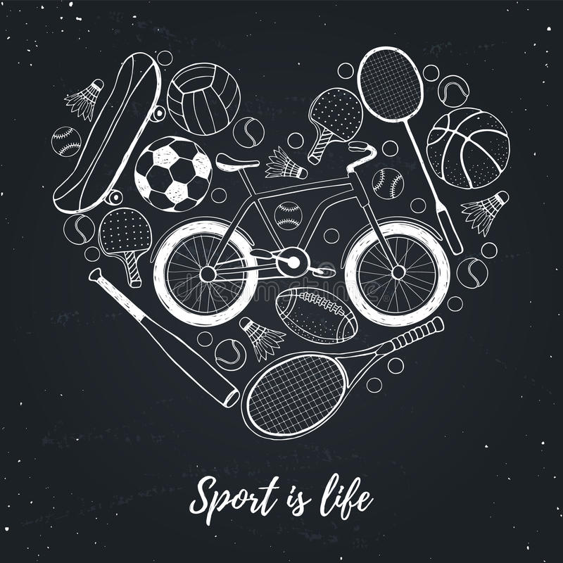 Download i love sport poster stock vector illustration of design 74286733