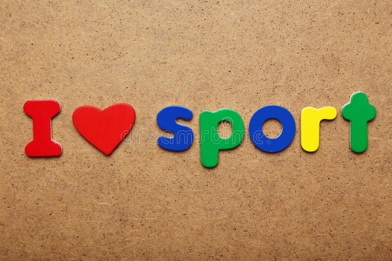 I love sport. Words made of colorful magnets royalty free stock image