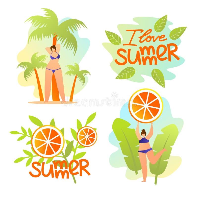 I Love Summer Banners Set. Summertime Mood, Resort vector illustration