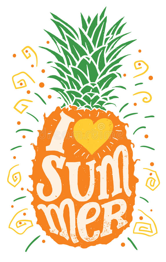 I love summer hand drawing typography illustration stock illustration