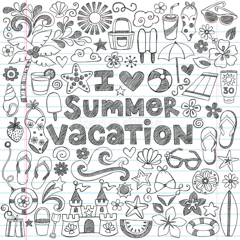 I Love Summer Vacation Tropical Doodle Vector vector illustration
