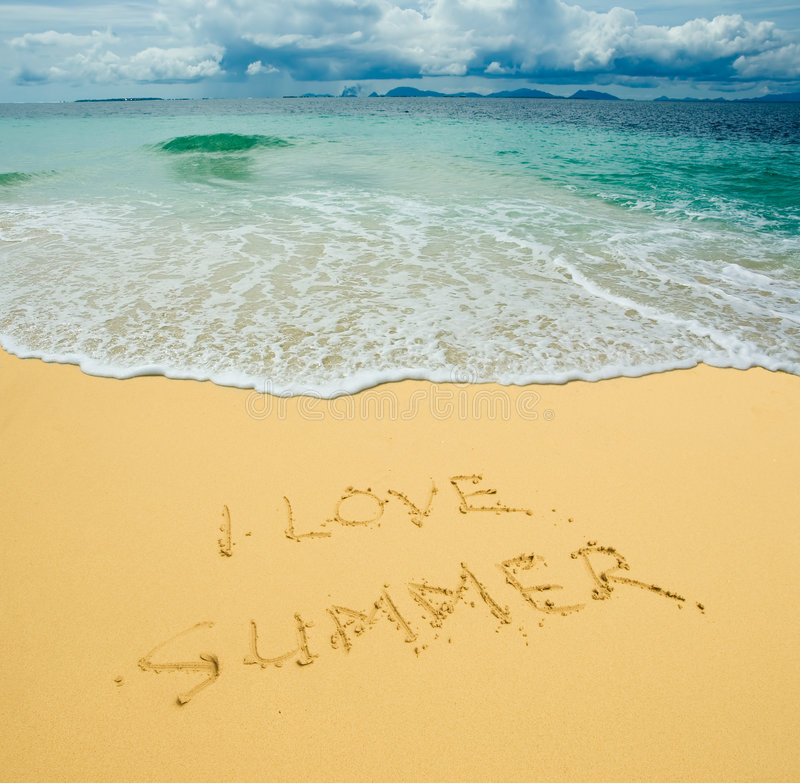 I Love Summer Written In A Sandy Beach Royalty Free Stock Photography