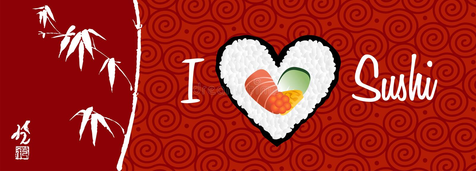 I love sushi banner background vector illustration