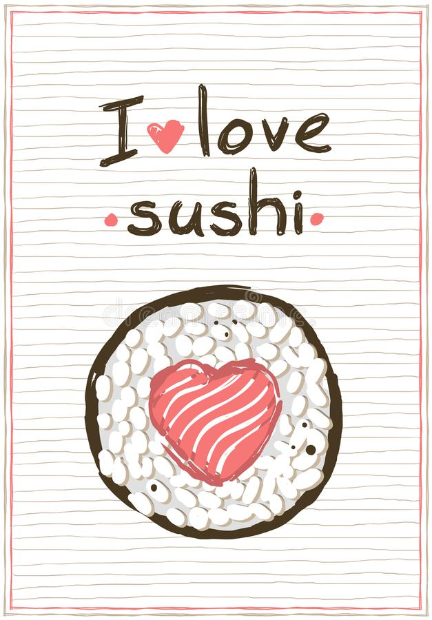 I love sushi, doodle style poster for sushi menu royalty free illustration