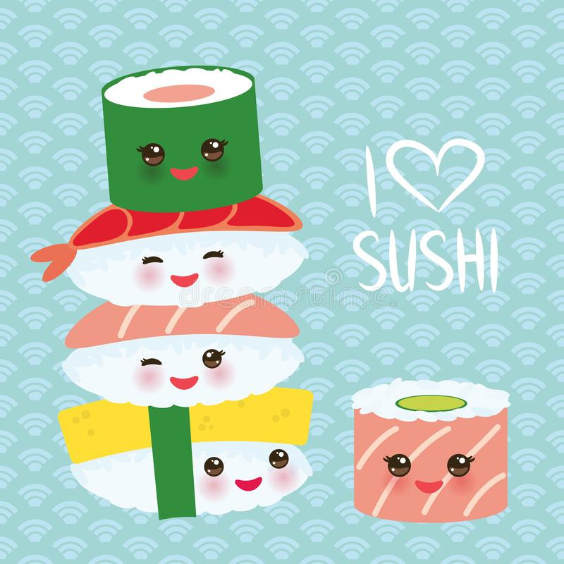 I love sushi. Kawaii funny sushi set with pink cheeks and big eyes, emoji. Blue background with japanese circle pattern. Vector vector illustration