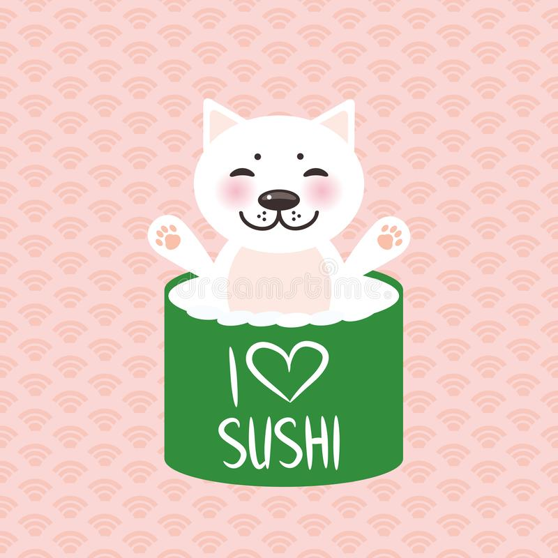 I love sushi. Kawaii funny sushi rolls and white cute cat with pink cheeks, emoji. Pink background with japanese circle pattern. V vector illustration