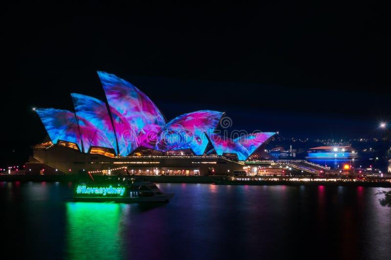 `I love Sydney` at Vivid Sydney Festival in front of Opera House royalty free stock photos