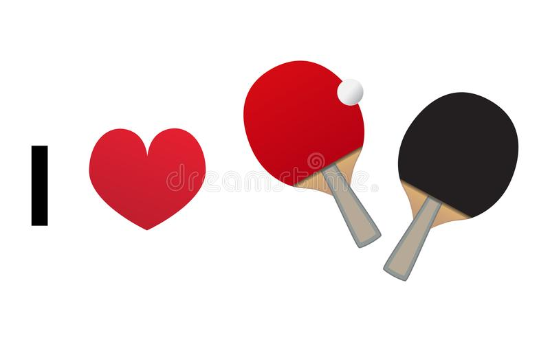 I love table tennis or ping pong vector icon stock illustration