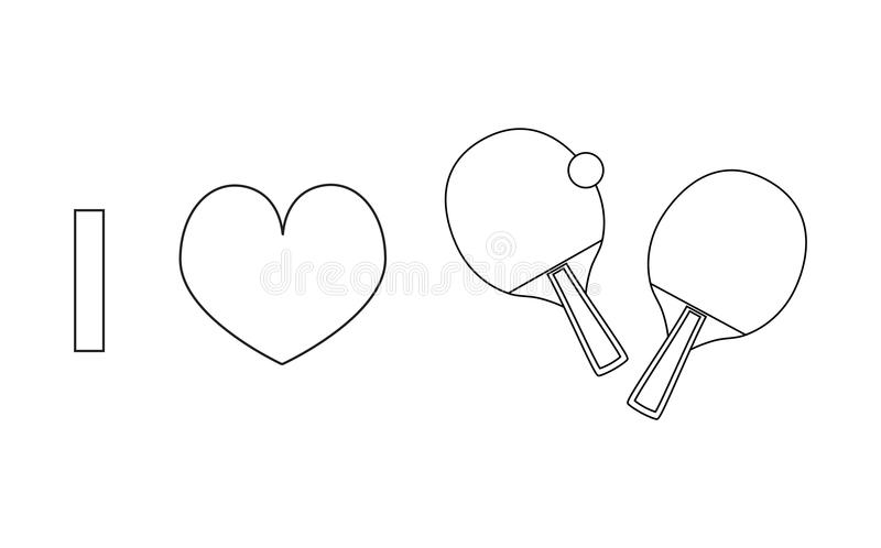I love table tennis or ping pong vector line icon vector illustration