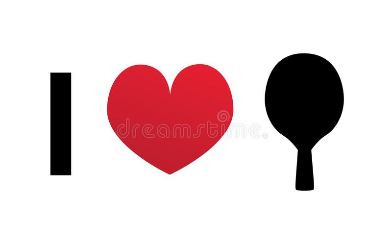 I love table tennis or ping pong vector silhouette icon vector illustration