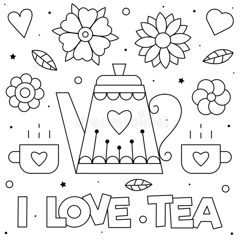 I love tea. Coloring page. Vector illustration. Cups and teapot. stock images