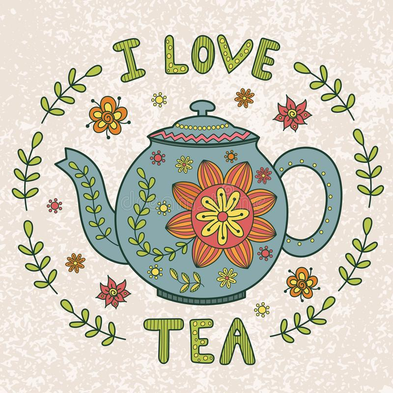 I Love Tea Vintage Illustration Stock Vector ...