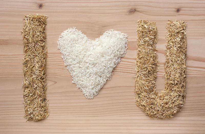i love u symbol make fome rice and rice hulls stock images