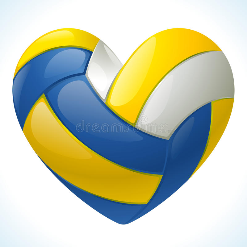 I love volleyball. Vector volleyball in the shape of heart isolated on white background