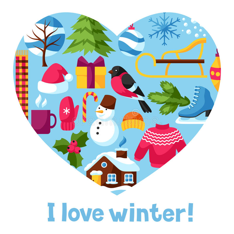 I Love Winter Merry Christmas Happy New Year Holiday Items And