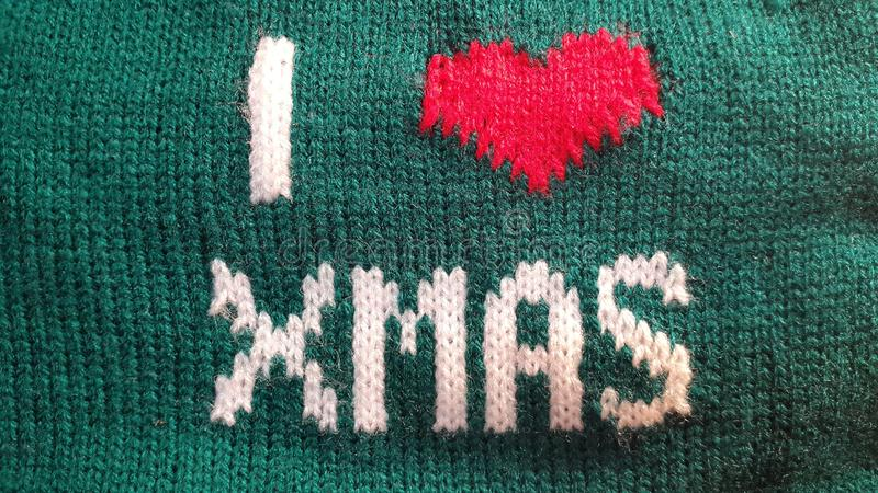 I love Xmas embroidered white thread. royalty free stock images