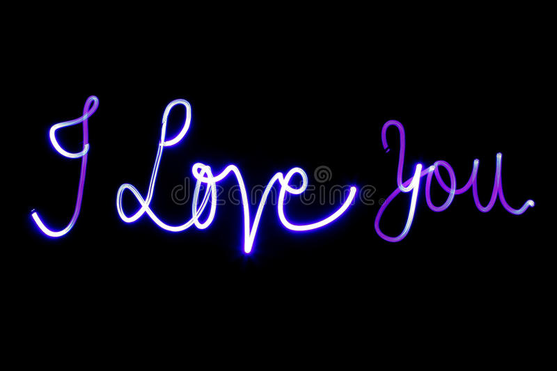 I LOVE YOU. Written with light painting. This is REAL and not rendered or composed together stock photo