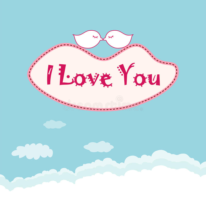 I love you. Birds are kissing on the cloud with lips shape vector illustration