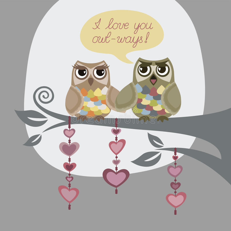 I love you always. 'I love you owl-ways!' greeting card. This image is a vector illustration vector illustration