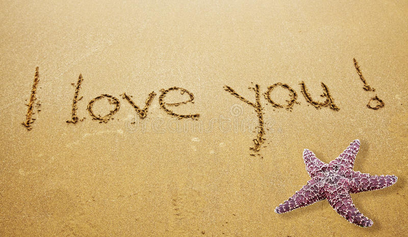 I LOVE YOU. Written in Sand on Beach with a Starfish