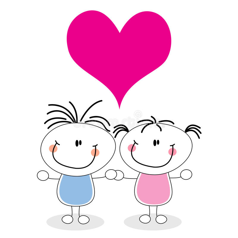 I love you. Couple in love with pink heart royalty free illustration