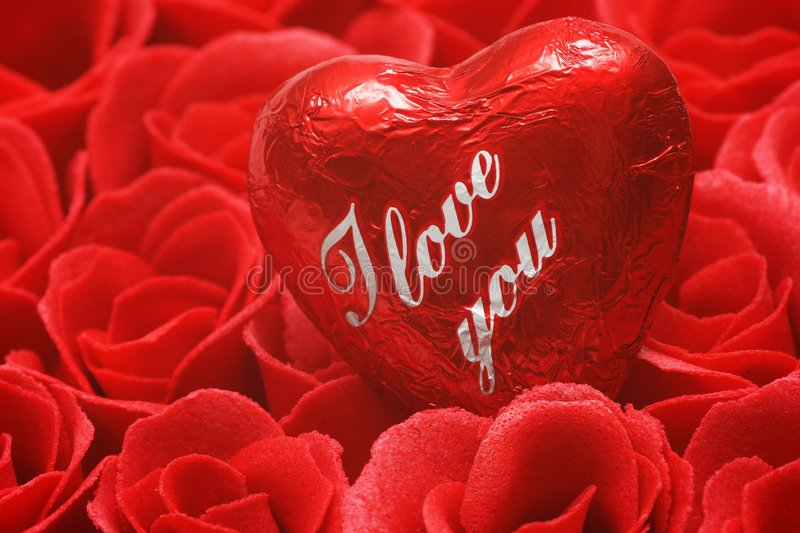 I love you. Valentine Heart and red rose royalty free stock photo