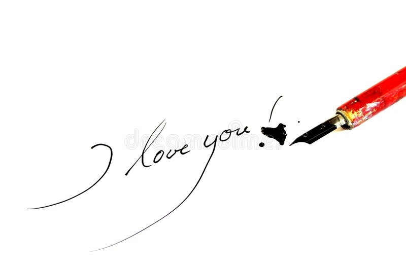 I love you. Classic used ink feather with heandwriting. Words: i love you Written on white background royalty free stock photography