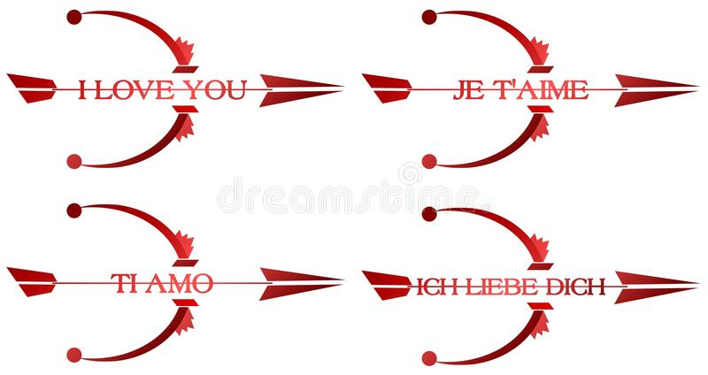 I love you arrows. Image representing a set of stretched arches with arrows on which there is the words I love you in english italian french and german vector illustration