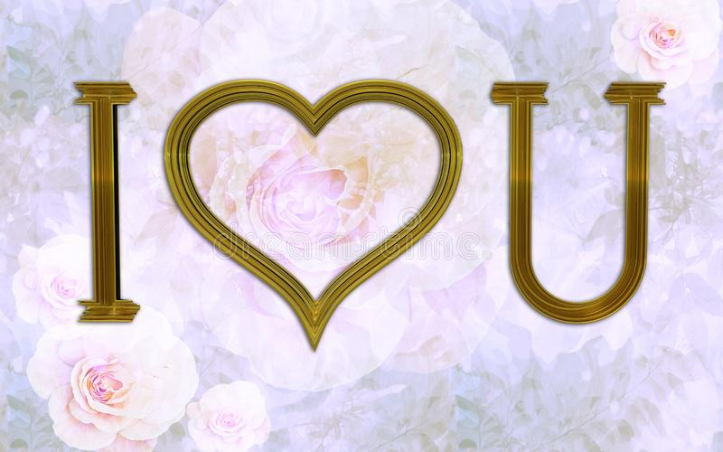 I love you as gold frame on a vintage floral texture with pink roses stock photo