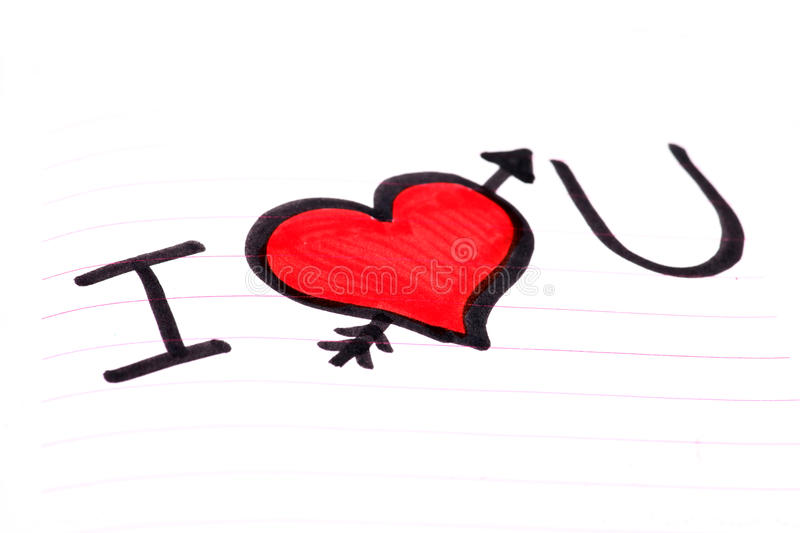 I love you. Beautiful shot of I love you written on notebook royalty free stock photo