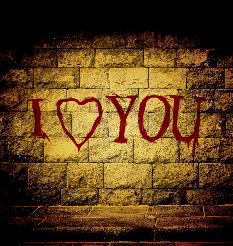 I love you blood text. At the brick wall with dim light vector illustration