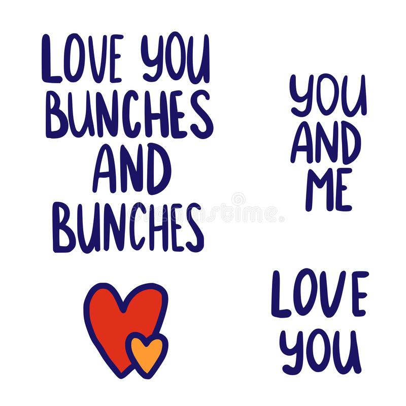 I love you bunches and hearts stock illustration