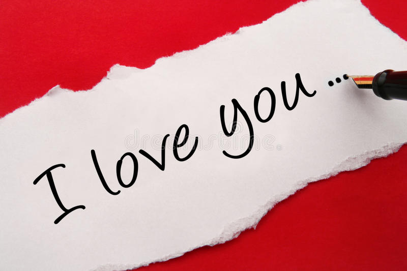 I love you card. On red background royalty free stock photography