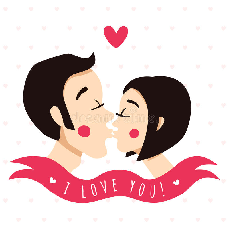 I love you card and background with kissing couple (brunettes). Ribbon and heart royalty free illustration