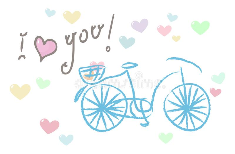 I love you! card with a bike stock illustration