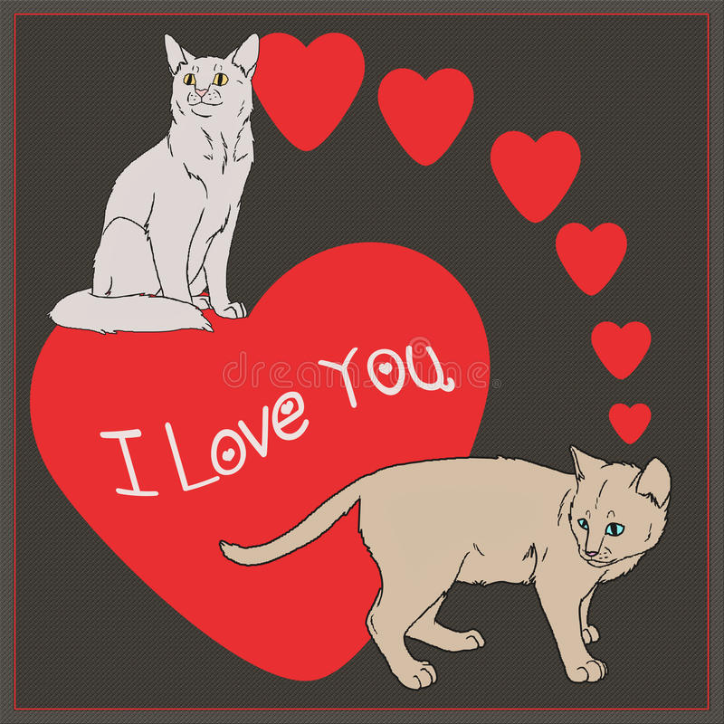 Download I Love You  - Cats Collection Stock Illustration - Image: 83700116