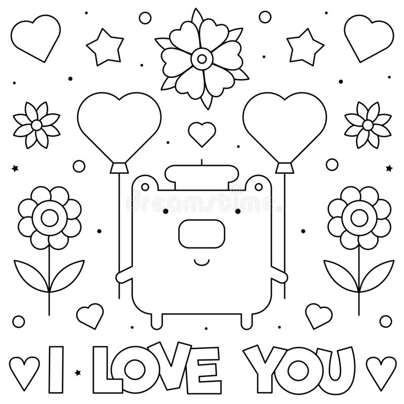 I love you. Coloring page. Black and white vector illustration. stock photography